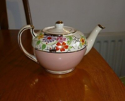 Vintage 1940s 1950 hand painted Gibson ? pink gold floral teapot England