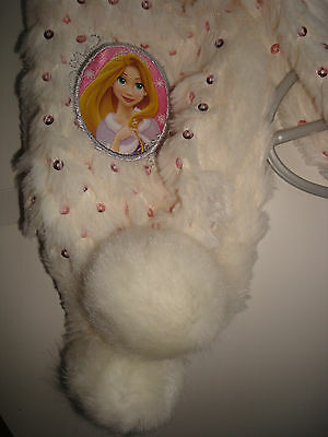 Disneys, Rapunzel, Faux Fur Scarf, Cream with Pink Sparkles, New with Tags