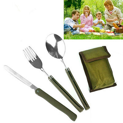 Army Green Stainless Steel Folding Cutlery Set Camping Travel Cooking Survival