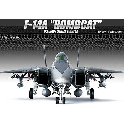 Academy 1/48 F-14A BOMBCAT USN Strike Fighter Plastic Model Kit Airplanes #12206