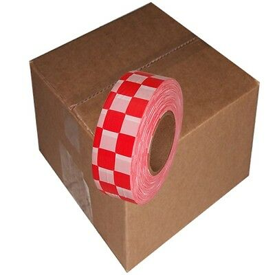 Red / White 12 Rolls Flagging Checkerboard Tape 1 3/16 in x 300 ft Non-Adhesive