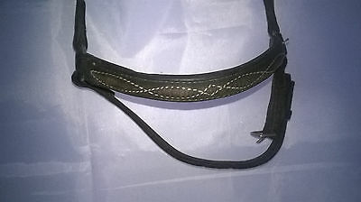 Black / Dark Brown English Leather Drop Noseband with Stitching Detail full size