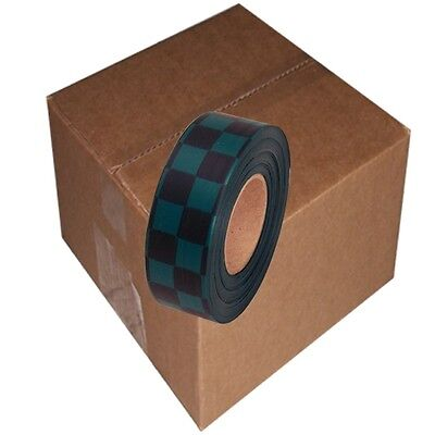 Black / Green 12 Rolls Flagging Checkerboard Tape 1 3/16 in x 300 ft Non-Adhesiv