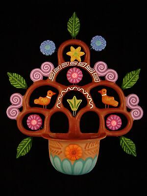 Mexican Clay Tree of Life Wall Hanging Vintage Pottery Planter Metepec