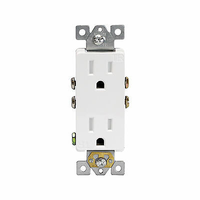 100PK Decorator Tamper Resistant Duplex Receptacles 15A TR Safety Outlet White