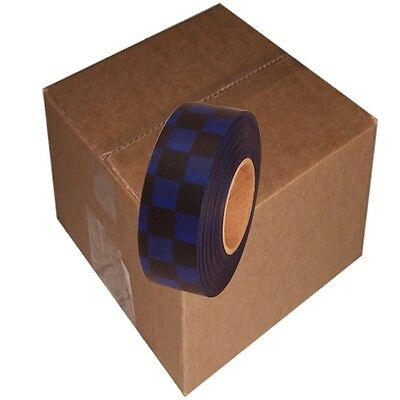 Black / Blue 12 Rolls Flagging Checkerboard Tape 1 3/16 in x 300 ft Non-Adhesive