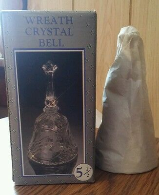 Wreath Crystal Bell 5.5. inches tall new in box