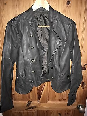 Brown Faux Leather Jacket UK 14