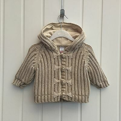Baby Boy 3-6 Months Next Chunky Knit Lined Beige Hoodie Cardigan Jumper Jacket