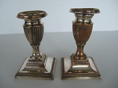 Pair vintage silver plate classic style candlesticks
