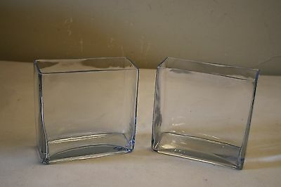Pair Of Two Clear Glass Rectangular Vases
