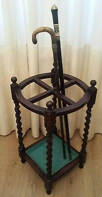 antique edwardian stick / umbrellas stand solid oak and metal drip tray