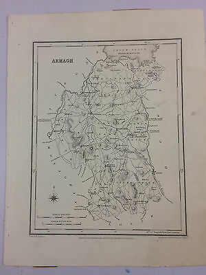 Armagh by Samuel Lewis antique map Northern Ireland Circa 1837 B16