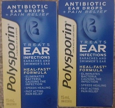 Polysporin Plus Pain Relief Ear Drops 15 ml each (2 packs)