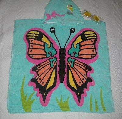 Towel Hoodie~Girl~Butterfly Includes Sun Glasses~New