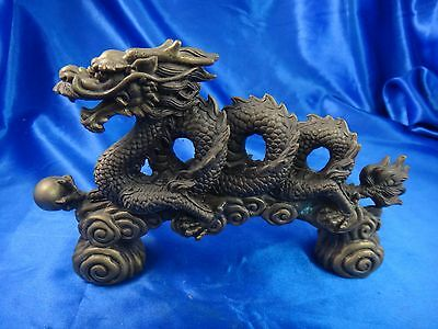 """Antique Vintage Asian Chinese Brass Dragon Statue 8 1/4"""" Signed"""