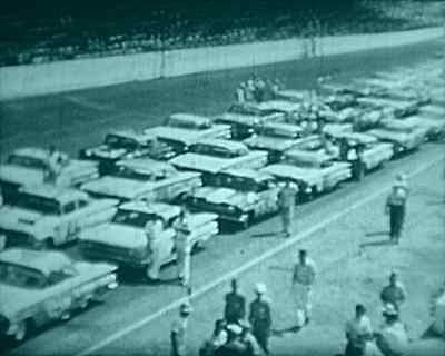 16mm  CASTLE FILMS USA STOCK CAR RACING 8 MINUTES BW SOUND