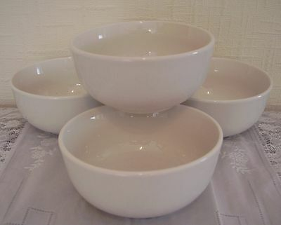 Set of four (4) x white cereal / soup / dessert bowls - brand new