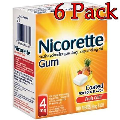 Nicorette Stop Smoking Aid Gum, FruitChill, 4mg, 100ct, 6 Pack 307667857603A4051
