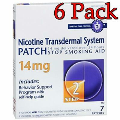 Nicotine Transermal System Patch, Step 2, 14mg, 7ct, 6 Pack 848985001519A1469