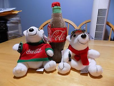 Coca Cola bears and bottle beanies lot of 3