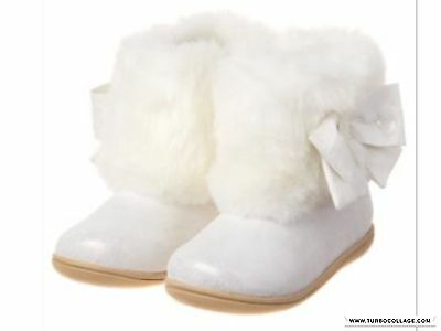 GYMBOREE Holiday Shop WHITE FAUX FUR BOW WINTER BOOTIES BOOTS Toddler 4,5,6,7,9