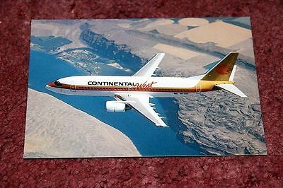 Continental West Boeing 737-300 Airline Postcard