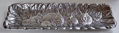 """BUNNY by Arthur Court - Cast Aluminum OBLONG Serving Tray - Easter Rabbits - 18"""""""