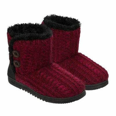 NEW Dearfoams Women's Cabernet Red Sweater Knit 2-button Boot Slippers PICK SIZE