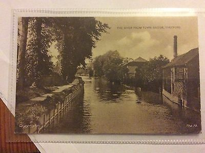 Postcard Of The River From Town Bridge Thetford Dated 1928