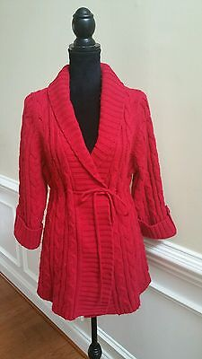 Motherhood Maternity Red Sweater Cardigan Size Large Cable Knit 3/4 Sleeve