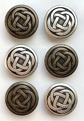 6 Celtic Knot Metal Buttons - 15mm and 19mm Sizes