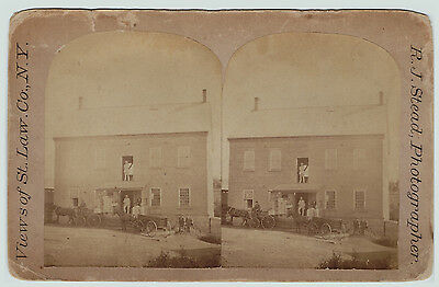 RARE Stereoview Photo - Lawrence NY - ca 1880 St Lawrence County - Factory Mill?