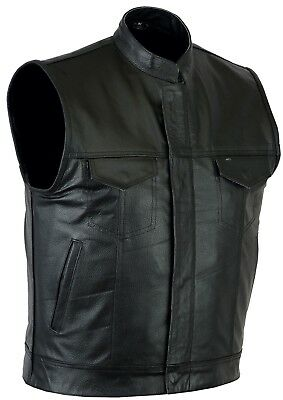 Mens Sons of Anarchy Genuine Leather Waistcoat Motorcycle Biker Vest UK stock