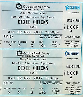 DIXIE CHICKS 2x TICKETS PLATINUM SYDNEY WED 29th MARCH FREE REGISTERED POST