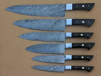 Custom Handmade Damascus Kitchen/Chef Knife Set 6/Piece By Damascus Points