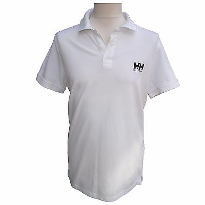 Mens Helly Hansen Polo Shirt White 100% Cotton Label Size Extra Large