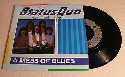 Hand Autographed Status Quo - A Mess of Blues 1983, Picture Sleeve