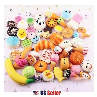 10pcs Food Dessert Bread Panda Soft Squeeze Squishy Keychain Toy (Random)