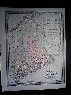 Original 1850 Cowperthwait Map Of The State Of Maine