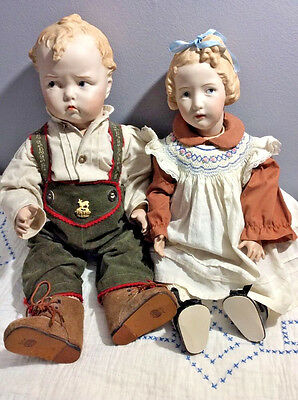2 Beautifully Painted Bisque Porcelain Dolls - Real Seeley Composition Body