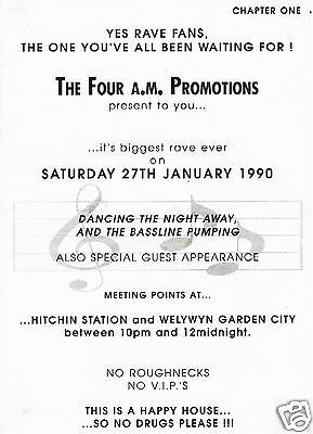 FOUR AM Rave Flyer Flyers 27/1/90 A5 Acid House Rare illegal warehouse party
