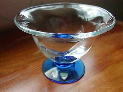 "Orrefors Sweden Art Glass ""Louise"" Clear Crystal Bowl With Blue Foot Labelled"