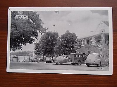 Vintage Maryland Main Street Postcard Betholine Sinclair Gas Station Woody Wagon