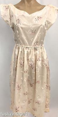 VINTAGE Classic Mid Century 50s light powder PINK muted FLORAL cinch dress 8