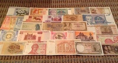 Assortment Of 26 X World Banknotes, All Notes Different And Genuine.