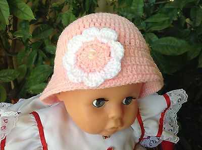 PINK CROCHET BABY SUN HAT with flower 3 to 9 months  made in WA