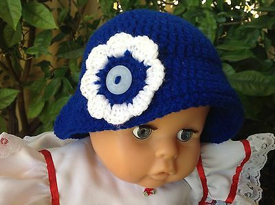 ROYAL BLUE CROCHET BABY SUN HAT with flower 3 to 9 months  made in WA