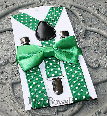 Kids Boys Baby SET Suspenders  bow tie 6months-5Y Christmas green white