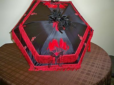 N.o. Black/red Beaded Feather Decor  Parasol Dance/parade  Bon Tempes Rouler""